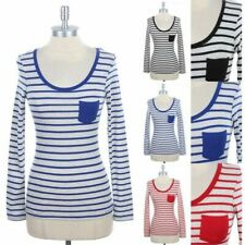Striped Top with Solid Chest Pocket Scoop Neck Long Sleeve T Shirt Cotton S M L