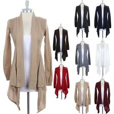 Solid Long Sleeve Front Open Draped Cardigan with Back Knit Detail Casual S M L
