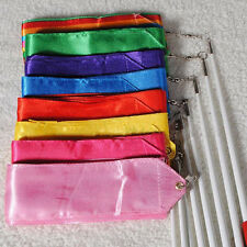 Ribbon Gym Rhythmic Art Gymnastic Ballet Streamer Twirling Rod 5 Colors Dance TL
