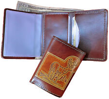 Men's Brown Trifold Leather Wallet With Embossed Designs - 100% Genuine Leather