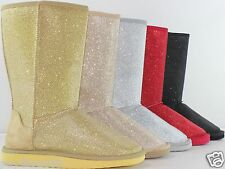 New Women's Fashion Glitter Comfort Mid Calf Fur Lined Boots Shoes Fast Shipping