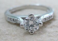 925 STERLING SILVER Round Solitaire with accents CZ engagement ring - GIRL WOMEN