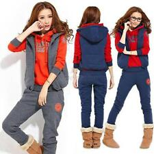 Leisure Sports Tracksuit Womens Hooded Hoodies Coat+Vest+Pants 3pcs Sweater Suit