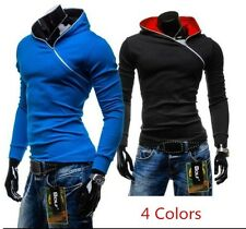 New Fashion Mens Slim Fit Fleece Hooded Jacket Coat Top Zip Pullover Sweatshirt