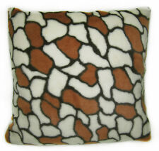 fp842a Black Brown Off White Stone Thick Soft Faux Fur Cushion Cover/Pillow Case