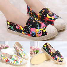 Womens Tie-Dye Pattern Printed Slip On Espadrilles Oxfords Flats Casual Shoes