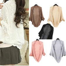 Ladies Shawl Batwing Sleeve Hollow Out Shrug Crochet Knit Cardigan Sweater Tops