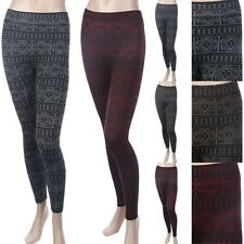 Geometric Thick Warm KNIT Leggings Winter Ankle Length Stretch Casual ONE SIZE