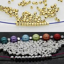 100/500 Pcs Loose Cube Tibetan Silver Spacer Beads Jewelry Findings 3.5*3mm,hot