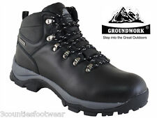 MENS WALKING BOOTS - HIKING BOOTS -  WATERPROOF BLACK LEATHER SIZE 7 8 9 10 11