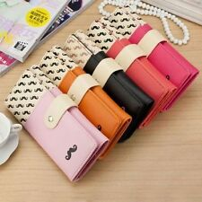 Lovely Women's Moustache Beard Zipper Leather Long Handbag Purse Wallet Card