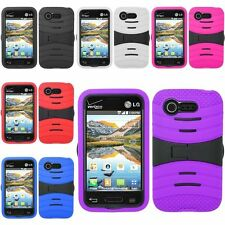Hybrid Rugged Cover Case w/ Kickstand For LG Optimus Zone 2 VS415PP L34C Fuel
