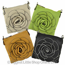 NEW Ladies PU Small COMPACT Cross Body BAG by Leko London Shoulder Flower Style
