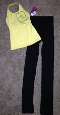 2 LOT Motionwear Yellow Black Dance Jazz Hip Hop Top Pants Outfit Adult S Small