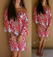 OFF SHOULDER BAROQUE BLUE & RED PAISLEY BELL SLEEVE MINI DRESS TUNIC S M L XL