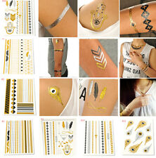 Fashion Temporary Metallic Gold Silver Black Flash Tattoos Flash Inspired JT13