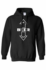 MEN'S/UNISEX PULLOVER HOODIE Beer Goes In, Beer Comes Out ALCOHOLIC DRINKING