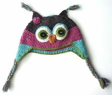 MONSOON Girls PINK Animal OWL Novelty Knitted Wool Nepal Trapper Hat 3-13y £12