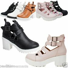 New Women Ankle Boots Strappy Buckle Round Toe Platform Sole Chunky Heel Bootie