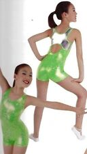 NWT Body Wrappers style 3020 Foil Silver back Gymnastic Biketard Girls Szs Lime