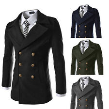 Mens Smart Slim Fit Winter Warm Trench Double Breasted Wool Coat Jacket Overcoat