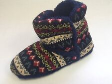 LADIES SLIPPER BOOTS SIZES 5, 6, 7 NAVY/COLOURED KNITTED