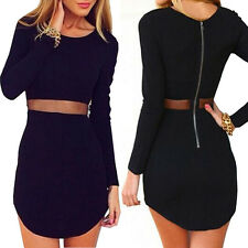 Sexy Women Lady Bodycon Long sleeve Slim Cocktail Party Short Mini Black Dress