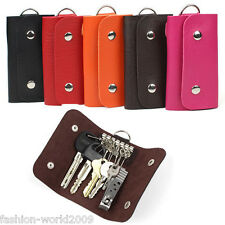 Folding 6 Key Chain Rings Unisex Mens Leather Pouch Bags Holder Wallets Finder