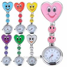 Heart Smile Style Round Dial Nurse Fob Brooch Pendant Pocket Quartz Clip Watch