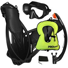 PROMATE Snorkeling Mask Dry Snorkel Fins Gear Set With Snorkel Vest Jacket