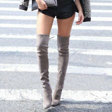 Sexy Womens Block High Heel Pointy Toe Over The Knee Thigh High Boots Shoes New