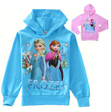 NEW Frozen Queen Elsa Anna Girls Hoodies Tops Shirts 2-8Y Coat Pullover Clothes