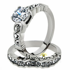 STAINLESS STEEL 2.35 CT ROUND ZIRCONIA  316L ENGAGEMENT WEDDING RING SET SZ 5-10