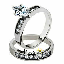 STAINLESS STEEL 1.65 CT MARQUISE CUT CUBIC ZIRCONIA 316L WEDDING RING SET SZ5-10