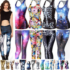 Sexy 3D Print T-Shirts Tank Top Vest Blouse Gothic Punk Skinny Leggings Pants