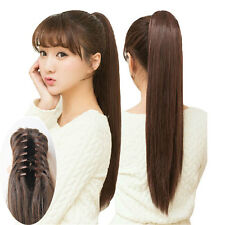 New Woman's Girl's Long Straight Ponytail Pony Claw Clip in Hair Extension 55cm