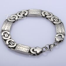 Mens Chain Boy Gold/Silver Flat Byzantine STAINLESS STEEL Bracelet Multi-options