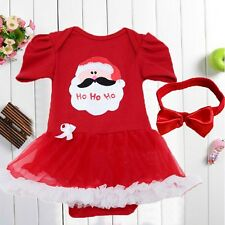 2PCS Baby Newborn Girls Christmas Party Romper Dress Set One-Piece Outfits 0-4Y