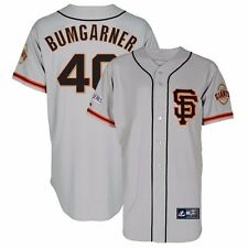 Madison Bumgarner 2014 SF Giants Alt Grey Road Jersey w/ World Series Patch Men