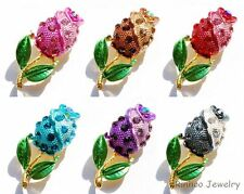 Retro Flower Crystal Enamel Bouquet Rhinestone Wedding Bridal Brooch Pins Gift