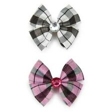 Aria Gingham Taffeta Dog Bow White and Pink Dog Grooming Bow 2 Bows