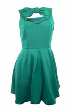 ASOS green fit & flare mini dress with bow detail at front & keyhole back