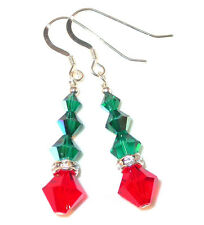 SWAROVSKI CRYSTAL Elements Sterling Silver Christmas Earrings Bright RED & GREEN