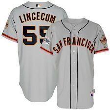 Tim Lincecum 2014 SF Giants Authentic World Series Cool Base Grey Road Jersey