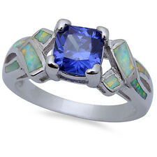 Tanzanite & Cz Heart Style .925 Sterling Silver Ring Sizes 6-9