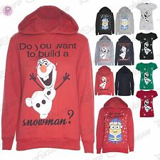 CLEARANCE SALE Womens Christmas Ladies Minion Olaf Build a Snowman Hoody Hoodie