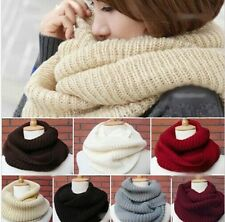 12 Colors Knitted Hood Neck Circle Cowl Wool Scarf Shawl Wrap Loop Winter Warmer