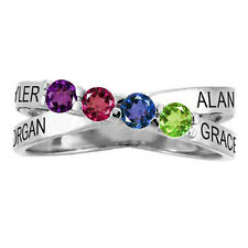 Sterling SILVER Mother's Ring Custom Birthstone & Name Moms Gift family Jewelry