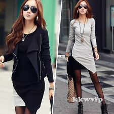 Winter Fall Korean Women Long Sleeve Party Cocktail Casual Mini Bandage Dress