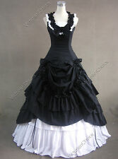 Civil War Southern Belle Ball Gown Period Dress Theatre Clothing Punk 081 Black